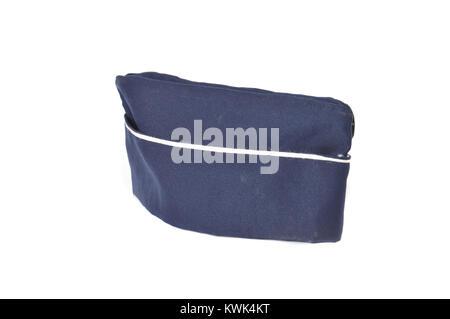 blue military cap on white background - Stock Photo