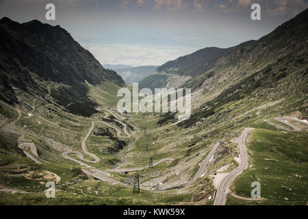 Panoramic view of Transfagarasan road in Romania in the summer - Stock Photo