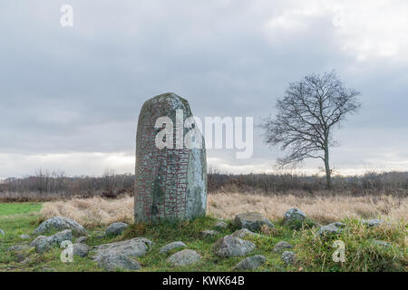 Ancient runestone in a landscape at the swedish island Oland in the Baltic Sea - Stock Photo