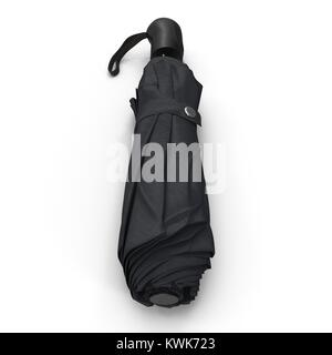 Black closed collapsible umbrella laying isolated on white. Front view. 3D illustration - Stock Photo