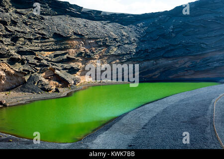 The Green Lagoon (Charco de los Clicos), El Golfo, Lanzarote, Canary Islands, Spain. - Stock Photo