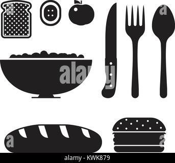 Vegan healthy breakfast icon set. Burger, vegetables, bread, loaf and eating appliances. Vegetable salad bowl, fork - Stock Photo