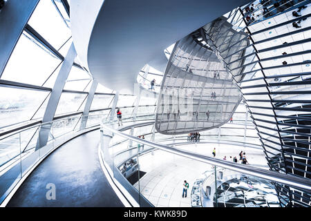 Interior wide angle view of famous Reichstag Dome in Berlin, Germany - Stock Photo