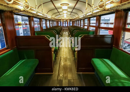 NAGOYA, JAPAN - NOVEMBER 18, 2015: Interior inside an antique train at The SCMaglev and Railway Park which features 39 full-size railway vehicles Stock Photo