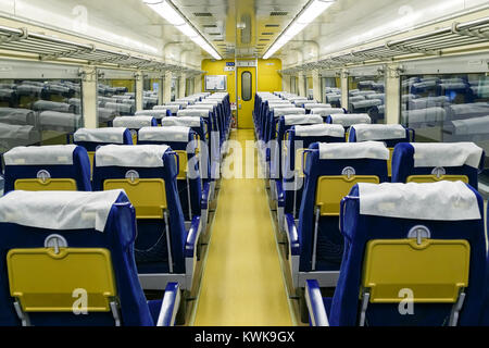 NAGOYA, JAPAN - NOVEMBER 18, 2015: Interior of an old Shinkansen at The SCMaglev and Railway Park which features 39 full-size railway vehicles Stock Photo