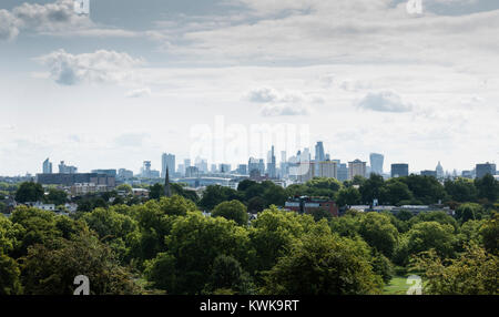 View of London Skyline from Primrose Hill, Camden, London, England, UK - Stock Photo