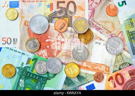 Greek drachms, euronotes and eurocoins, Griechische Drachmen, Euroscheine und Eurom?nzen - Stock Photo