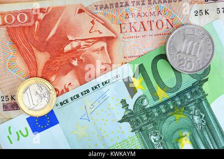 Greek drachm and euro, Griechische Drachme und Euro - Stock Photo