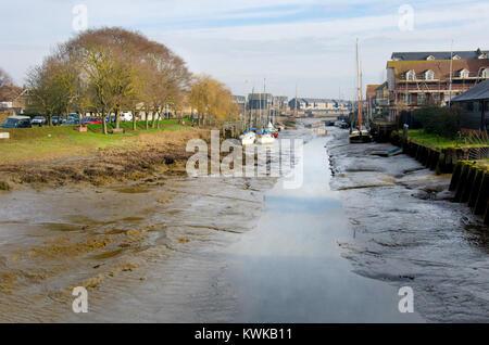 Faversham, Kent, England. Faversham creek - inlet from the Thames Estuary - Stock Photo