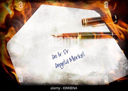 Urgent request to the Federal Chancellor Angela Merkel, symbolic photo, Brandbrief an die Bundeskanzlerin Angela - Stock Photo