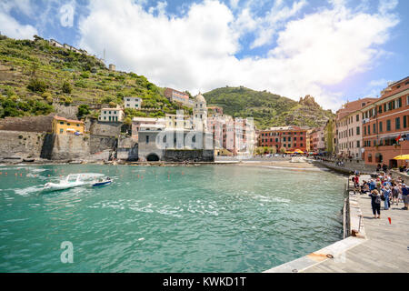 View on port of Vernazza, village in the Cinque Terre, Liguria Italy Europe - Stock Photo