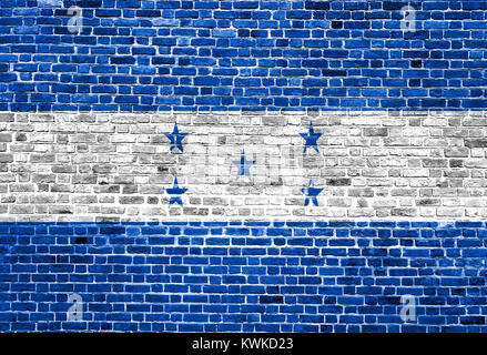 Flag of Honduras painted on brick wall, background texture - Stock Photo