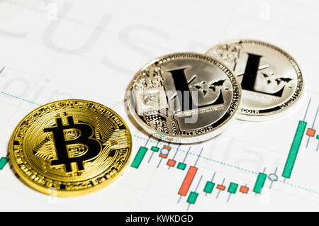 Bitcoin and litecoin is a modern way of exchange and this crypto currency is a convenient means of payment in the - Stock Photo