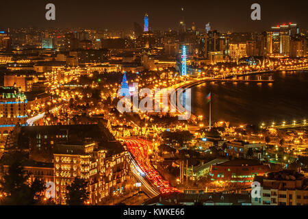 Panorama of the night Baku view frome above - Stock Photo