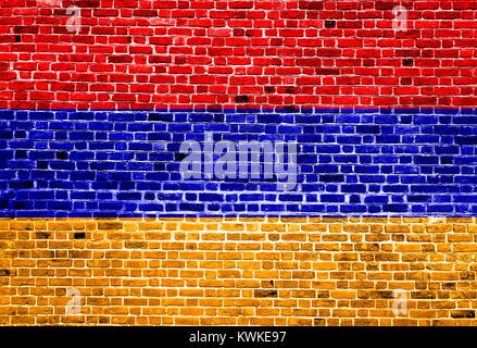 Flag of Armenia painted on brick wall, background texture - Stock Photo