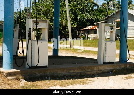 Old petrol station. Pangai. Lifuka island. Haapai islands, Tonga. Polynesia - Stock Photo