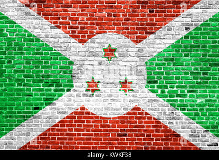 Flag of Burundi painted on brick wall, background texture - Stock Photo