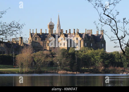 The stately Elizabethan-style mansion Brownlow House in Lurgan, County Armagh, Northern Ireland. The building is - Stock Photo