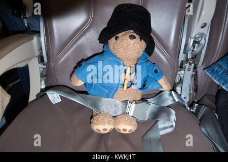 Childs soft toy, Paddington Bear, possibly lost passenger, sitting in an in airplane / air plane / aeroplane seat - Stock Photo