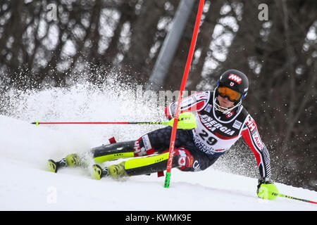 Zagreb, Croatia. 04th Jan, 2018. Read Erik of Can competes during the Audi FIS Alpine Ski World Cup Mens Slalom, - Stock Photo
