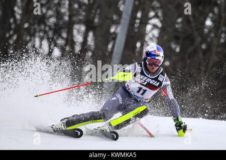 Zagreb, Croatia. 04th Jan, 2018. Pinturault Alexis of Fra competes during the Audi FIS Alpine Ski World Cup Mens - Stock Photo