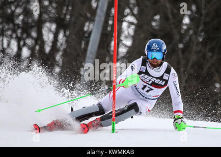 Zagreb, Croatia. 04th Jan, 2018. Schwarz Marco of Aut competes during the Audi FIS Alpine Ski World Cup Mens Slalom, - Stock Photo