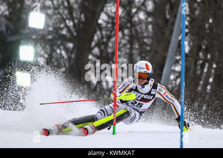 Zagreb, Croatia. 04th Jan, 2018. Strasser Linus of Ger competes during the Audi FIS Alpine Ski World Cup Mens Slalom, - Stock Photo