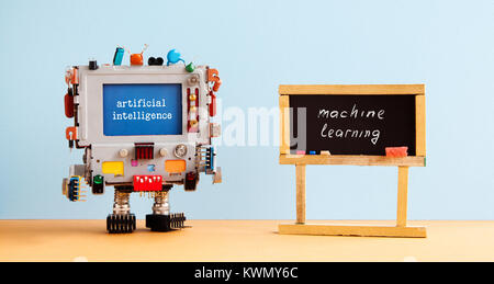 Artificial intelligence machine learning. Robot computer black chalkboard classroom interior, future technology - Stock Photo