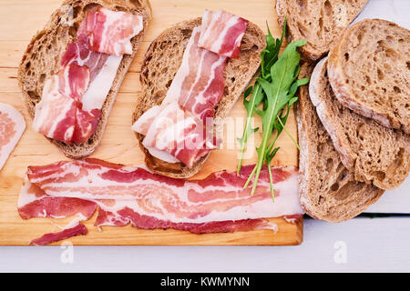 Bread with gourmet meat - Stock Photo