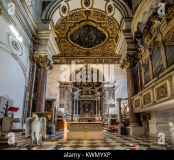 Interior of Amalfi Cathedral. The Cathedral at The Monumental complex of St Andrew in Amalfi, Italy. - Stock Photo