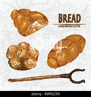 Digital color vector detailed line art golden loaves of braided bread, sliced cut, oven fork and buns with sesame - Stock Photo
