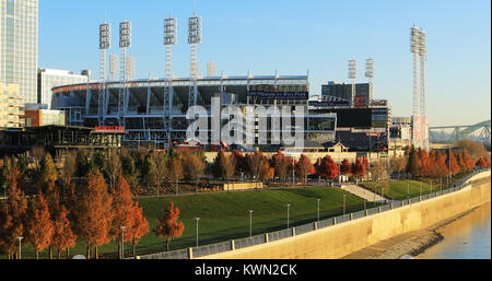 The Great American Ballpark in Cincinnati by the Ohio River - Stock Photo