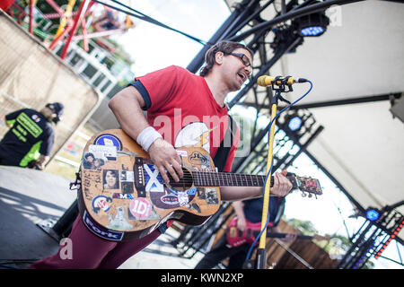 The American rock band Wheatus performs a live concert at the Sony Music Limited Stage at the Barclaycard British - Stock Photo