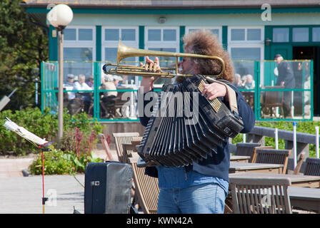 Street musician at the pier of Wustrow, Fishland, Mecklenburg-Western Pomerania, Baltic sea, Germany, Europe - Stock Photo