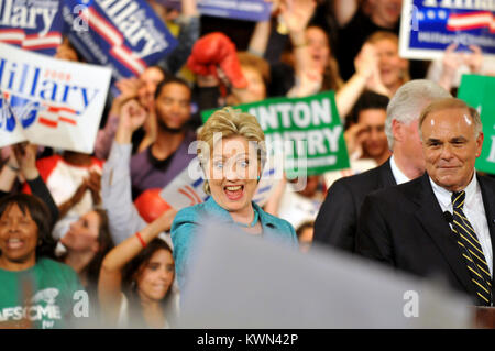 Democratic presidential hopeful Sen. Hillary Clinton addresses supporters  at Pennsylvania primary night rally at - Stock Photo