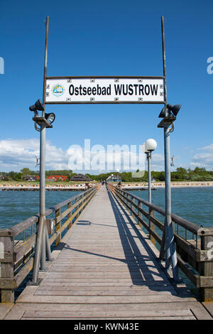Pier of Wustrow, Fishland, Mecklenburg-Western Pomerania, Baltic sea, Germany, Europe - Stock Photo