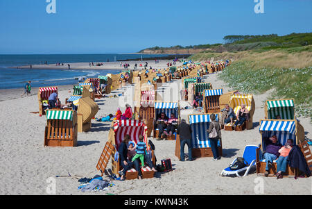 People on beach chairs at the beach of Wustrow, Fishland, Mecklenburg-Western Pomerania, Baltic sea, Germany, Europe - Stock Photo