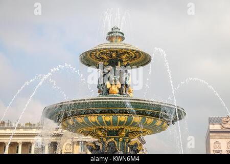 Fountain of River Commerce and Navigation in Place de la Concorde, Paris City, France - Stock Photo