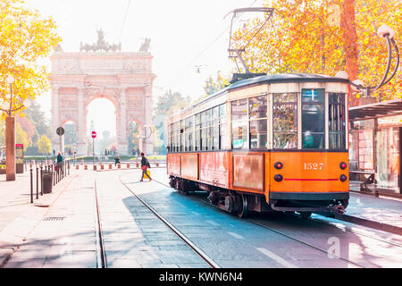 Famous vintage tram in Milan, Lombardia, Italy - Stock Photo