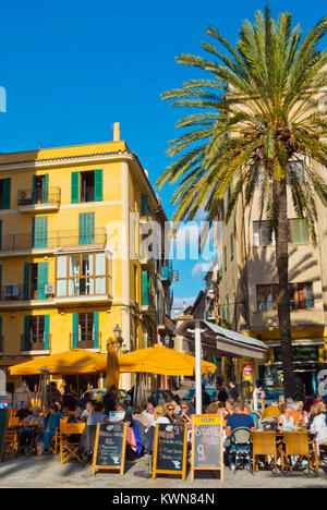 Cafe and restaurant terraces, Placa de la Llotja, Palma, Mallorca, Balearic islands, Spain - Stock Photo