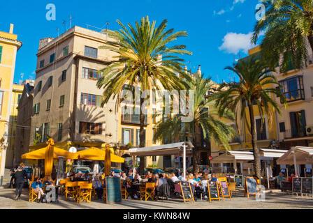 Cafe and restaurant terraces, Placa de la Llotja, Palma, Mallorca, Balearic islands, Spain - Stock Photo