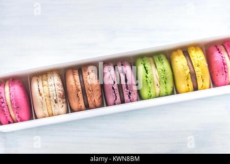 Box of colorful macarons - Stock Photo