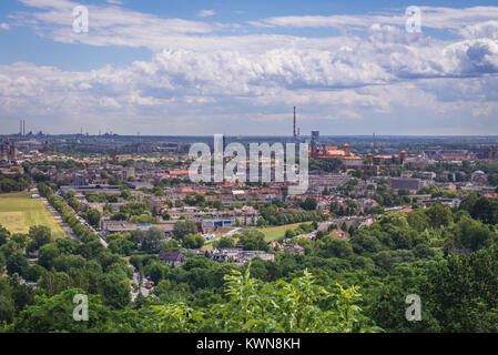 Aerial view from Pilsudski Mound on the Sowiniec Heights in Cracow city, Lesser Poland Voivodeship of Poland - Stock Photo