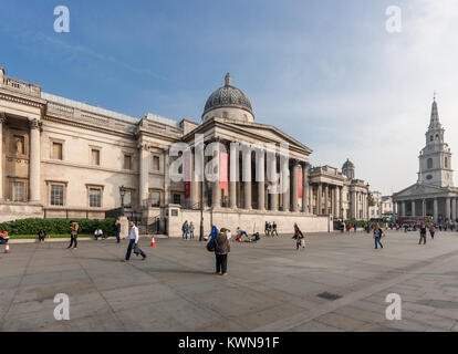 National Gallery building in London, facade on Trafalgar Square by William Wilkins; 1832–8 with the church of St - Stock Photo