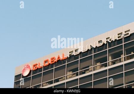 Close-up of signage with logo for technology company Global Foundries in the Silicon Valley town of Santa Clara, - Stock Photo