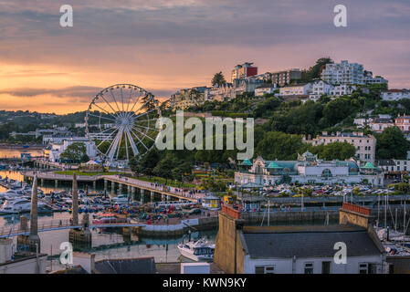 Torquay, Devon, England. August 2017 - Panoramic view of the harbor of the popular seaside resort town during a - Stock Photo