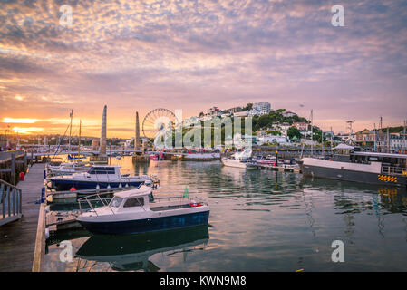 Torquay harbour at sunset. Panoramic view of the popular seaside resort town during a colorful sunset. Devon, England - Stock Photo
