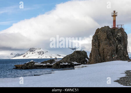 Lighthouse; Arctowski; Polish Research Station; King George Island; Antarctica - Stock Photo