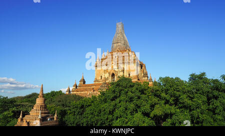 Scenic sunrise above bagan in Mandalay Region of Myanmar, Bagan is an ancient city with thousands of historic Buddhist - Stock Photo