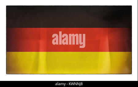An old distressed German flag - Stock Photo